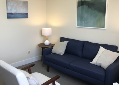 therapy room in the office of Evergreen Counseling